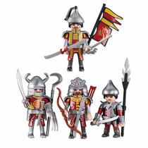 Playmobil Knights 4 Pack Caballeros Dragón Soldados Medieval