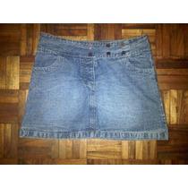 Minifalda De Jean , Marca Bassement, Talle Medium