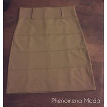 Phenomena Moda - Pollera Cintua Alta Marron Clarito
