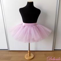 Tutú Corto Para Danza / Ballet De Tul Blanco Y Rosa - Niña