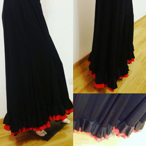 Falda Negra Baile Flamenco Con Doble Volado Combinada Rojo