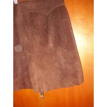 Pollera Cuero Gamuzado, C/ Cadera Y Gajos Dando Forma