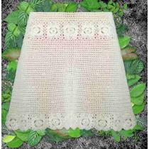Falda Pollera Tejido Crochet Otoño Invierno Delicado