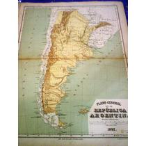 Antiguo Mapa Republica Argentina 1892