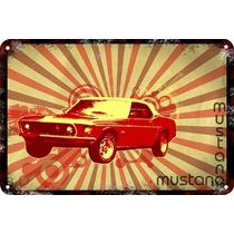 Carteles Antiguos Chapa Gruesa 60x40cm Ford Mustang Au-051