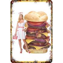 Carteles Antiguos De Chapa Poster 60x40cm Burger Al-063