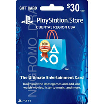 Psn Gift Cards U$30 Para Juegos Ps3 Ps4 Vita En Region Usa