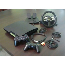 Ps3 Slim 160gb Flasheada+volante Y Joysticks