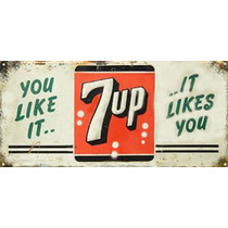 Cartel Antiguo Chapa 7up Mediano 75x35cm Grosor (1,25mm)