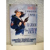 Cartel Enlozado De La Armada Usa - 30 X 20 Cm.