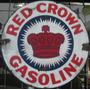 Cartel De Chapa Antiguo Red Crown Gasoline 29x29cm