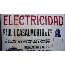 Antiguo Cartel Enlozado Publicidad Electricidad Bombé