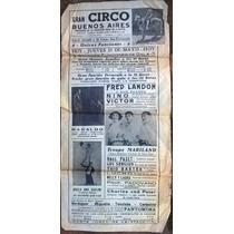 Antiguo Aviso Publicitario, Afiche De Circo