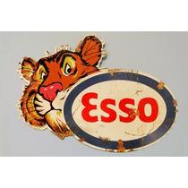 Carteles Antiguos De Chapa Gruesa 30x45cm Esso Tiger Pe-042