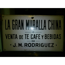 Cartel Chapa Enlozada La Gran Muralla China Antiguo!!