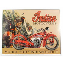 Carteles Antiguos Chapa Gruesa 60x40cm Moto Indian Mot-062