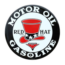 Carteles Antiguos Chapa Gruesa 40cm Motor Oil Red Hat Pe-091