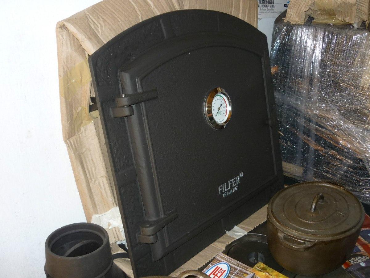 Pin puerta de fundicion para horno barro con reloj y for Hornos de lena precios