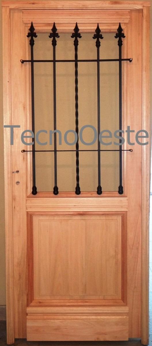 Puerta madera exterior 1 2 reja maciza colonial antigua for Puertas de madera maciza exterior precios