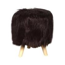 Puff Banquito Silla Silloncito Escandinavo Furry Black