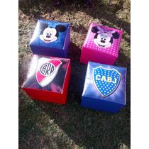 Puff Estampados Mini Infantiles Cub 30x30 Cm