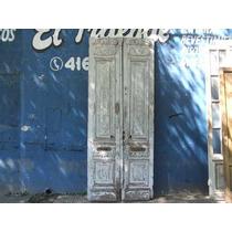 Puerta De Frente Antigua,de Cedro, Con Tallas