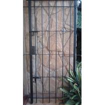 Puerta Reja Hierro Redondo Marco Y Cerradura