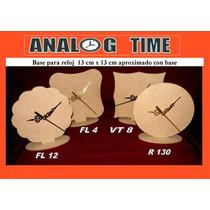 40 Base De Souvenir Con Maquina De Reloj Y Agujas Mdf 3 Mm
