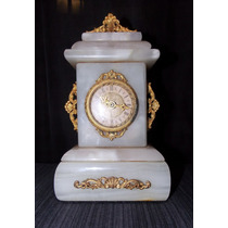 Reloj De Mesa Espectacular En Màrmol Macizo Y Bronceria