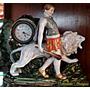 Exquisita Escena De Porcelana Alemana Reloj Funcionando A