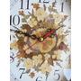 Unico !! Precioso Reloj Pared Madera Y Flores Naturales