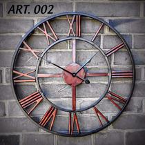 Reloj De Pared En Hierro Estilo Vintage - Con Máquina - 80cm