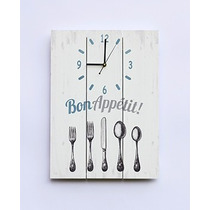 Reloj De Pared De Madera Vintage Bon Appetit 30x40cm