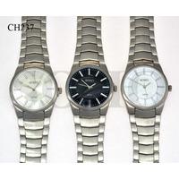 Reloj Hombre Marca Soho Fondo Blanco Negro Malla Acero Ch237
