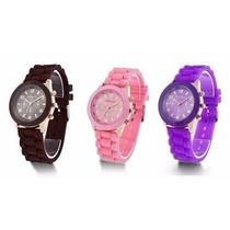 Reloj Geneva De Silicona Muchos Colores Belka!!