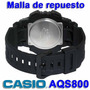 Malla De Reloj Casio Aqs800 Original-caucho Negro-local Cent