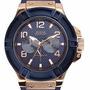 Reloj Guess W0247g3 Caucho Azul Y Dorado. Agente Oficial.