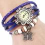 Reloj Pulsera Vintage Malla Cuero Dijes Colores Envios