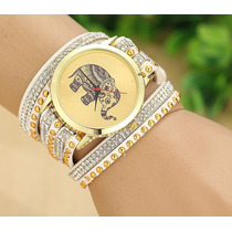 Reloj Vintage De Elefante Importado Malla De Cuero