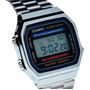 Reloj Casio A-168wa Retro Vintage Silver Crono Alarmas Wr
