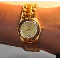 Hermoso Reloj Dama Marca Lobor Baño De Oro Y Strass Sin Uso
