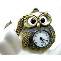 Reloj Colgante Buho Color Bronce Cadena En Subasta