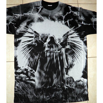 Remera Algod. - Parka Angel - Hard Rock Punk Metal Calavera