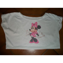 Remera Corta Pupera Chica Nena Tolerita Minnie Mickey