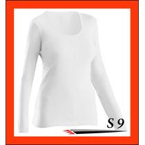 Remera Dama Manga Larga Blanca Spun Modal Sublimar Estampar