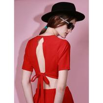 Camisa Top Corta Mangas Cortas Crepe Rojo Drole