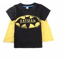 Remera Con Capa Niños Batman Oferta