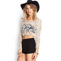 Remera Mangas Largas Crochet Mujer Forever 21. Sexy. Noche