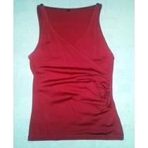 Musculosa Top Escotada Rojo Microfibra Pura Lycra