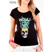 Remera 100% Algodón Con Estampa Calavera Skull Ananá - Powa